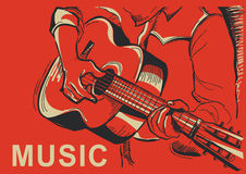 Musician playing guitar poster illustration Royalty Free Stock Images