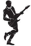 Musician playing guitar. Vector silhouette, isolated Stock Photos