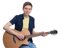 Musician playing his guitar. Royalty Free Stock Images