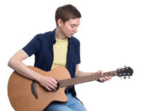 Musician playing his guitar. Royalty Free Stock Photo