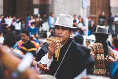 Musician playing pan pipe flutes Stock Image