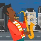 Musician playing saxophone. Stock Image