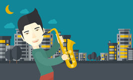 Musician playing saxophone Stock Image