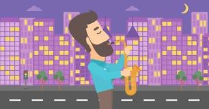 Musician playing saxophone. Stock Photo