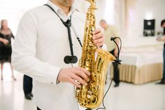 The musician plays the saxophone indoors close-up. The saxophonist plays the saxophone at the event close-up royalty free stock images