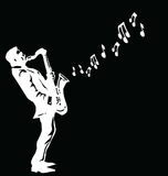 Musician playing the saxophone Stock Photography