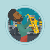 Musician playing saxophone vector illustration. Royalty Free Stock Photo