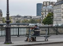 Musician playing at the streets of Paris, France stock photos
