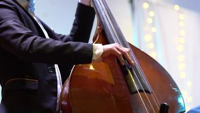 The musician playing a string instrument. By pressing and pressing. To make a sound to the beat. The musician playing a string instrument. By pressing and stock video footage