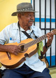 Musician playing traditional music in Havana stock photo