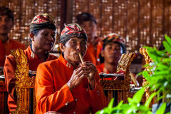 Musician playing at traditional show in Bali Stock Photos