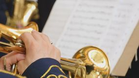 Musician playing the trumpet, closeup stock footage