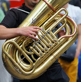 Musician is playing on the tuba. Royalty Free Stock Photography