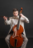 Musician playing the viola da gamba Royalty Free Stock Image