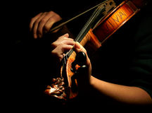 Musician playing violin. Isolated on black Stock Images