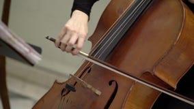 Musician playing violin. Closeup indoors stock video footage