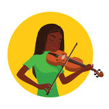 Musician playing violin. Girl violinist is inspired to play a classical musical instrument. Musician playing violin. African girl violinist is inspired to play Stock Photo