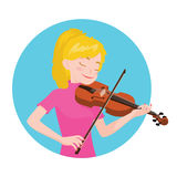 Musician playing violin. Girl violinist is inspired to play a classical musical instrument. Vector illustration in cartoon style in the blue circle on white Royalty Free Stock Photo