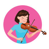 Musician playing violin. Girl violinist is inspired to play a classical musical instrument. Vector illustration in cartoon style in the pink circle on white Royalty Free Stock Photos