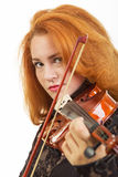 Musician playing violin. Isolated on white Royalty Free Stock Photos