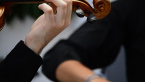 Musician playing violin or viola in a string quartet stock video