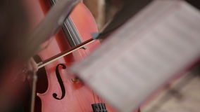 Musician playing violoncello stock footage