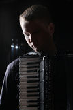 Musician plays the accordion Royalty Free Stock Images