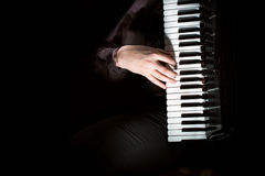 Musician plays the accordion against a dark background Royalty Free Stock Images