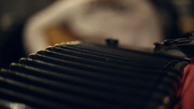 Musician plays the accordion stock video footage