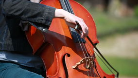 Musician plays on the cello stock video footage
