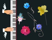 Musician plays the concert grand piano. Symbolic illustration of inspiration: winged hands, little fairy ballerina. Pressing piano key, treble clef and musical stock illustration