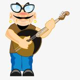 Musician plays on dombra. Man musician plays on dombra on white background Royalty Free Stock Photos