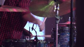 Musician plays drums on a stage 4k stock video