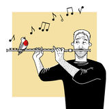 Musician plays flute Royalty Free Stock Photos