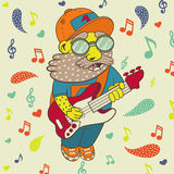 Musician plays the guitar. Musician with a beard, wearing a cap, glasses, plays the electric guitar. vector Stock Photo