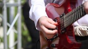 Musician plays a guitar stock video