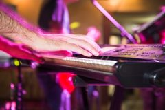 Musician plays keyboards in a rock band.  Royalty Free Stock Photos
