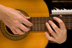 Musician plays a musical instrument,guitarist. And a guitar Stock Photo