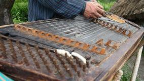 Musician plays the old Ukrainian dulcimer stock video footage