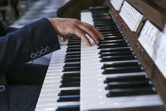 Musician plays the piano; organ Stock Photo
