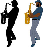 Musician plays saxophone illustration and silhouette Royalty Free Stock Images