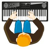 Musician plays on synthesizer. Man musician plays on instrument synthesizer.Vector illustration Royalty Free Stock Photo