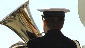 Musician plays the trumpet. A military band played marches and waltzes stock video footage
