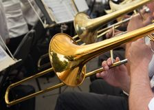 Musician plays the trumpet in the orchestra.  Royalty Free Stock Photo
