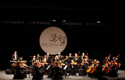 Musician of Prague Chamber Orchestra performs at Bahrain. MANAMA, BAHRAIN - OCTOBER 24:  Prague Chamber Orchestra, the only Orchestra to play without a conductor Royalty Free Stock Images