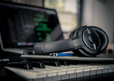 Musician prepare to compose new song in studio. Musician prepare to compose new song in home studio royalty free stock image