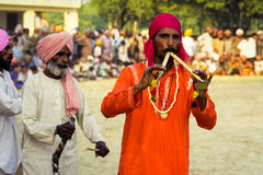 Musician in Punjab India. Male musician dressed in traditional clothes playing at a festival in the Punjab, India Stock Image