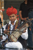 Musician from the Rahmat Khan Langa Troupe. One musician of the Rahmat Khan Langa Troupe performing Rajasthani Folk music during the Dipawali Festival of Lights royalty free stock images