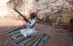 The musician of Rajasthan. A musician is playing his music instrument in Rajasthan, India Royalty Free Stock Photos