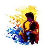 Musician, saxophone player. Colorful vector illustration Stock Photos